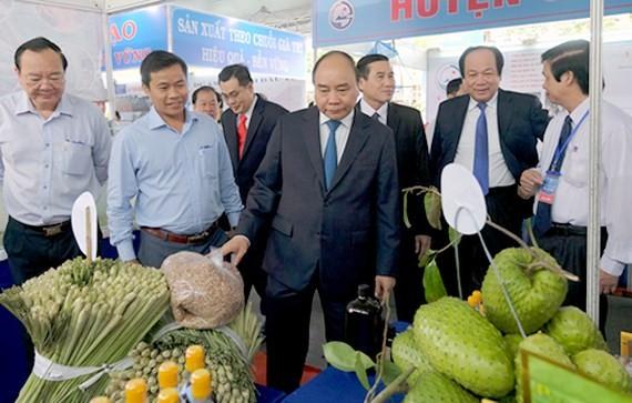政府總理參觀當前在前江省投資企業所展示的產品。(圖源:VGP)