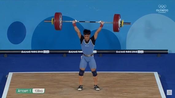 越南舉重運動員吳山鼎男子舉重56公斤級賽項奪得首枚金牌。