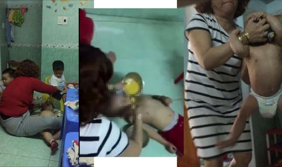 Những hình ảnh trẻ bị bạo hành tại nhóm trẻ Mẹ Mười. Ảnh cắt từ clip.