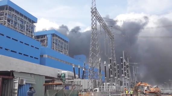 Hiện trường vụ cháy tại dự án Nhà máy Nhiệt điện Duyên Hải 3