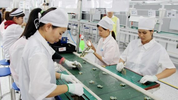 A South Korean firm producing cell phone accessories in Thai Nguyen province (Photo: VNA)