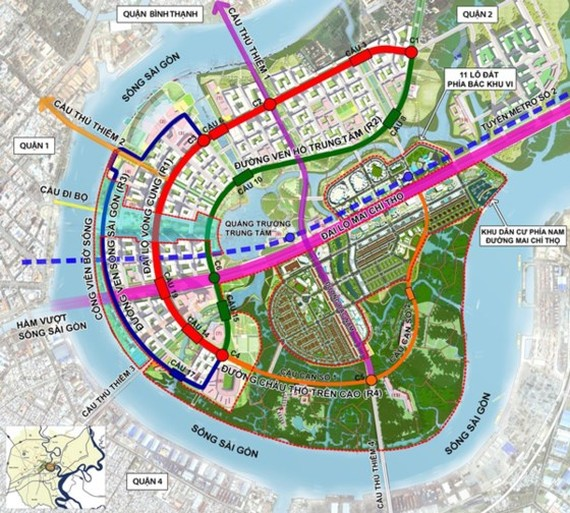 Thu Thiem 4 Bridge is expected to be built over the Saigon River to connect District 2 and 7 in HCMC