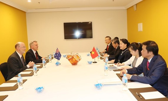 The meeting between NA Chairwoman Nguyen Thi Kim Ngan and President of the Australia-Vietnam Friendship Society Kim Sampson (Photo: VNA)
