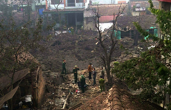 The scene of the explosion in Bac Ninh on January 3