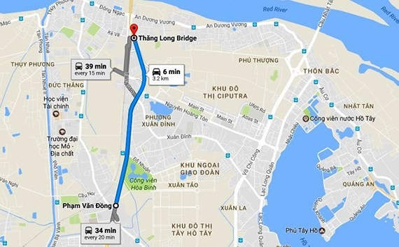 Mai Dich-Nam Thang Long viaduct is over 5 kilometers long (Photo: GOOGLE MAPS)