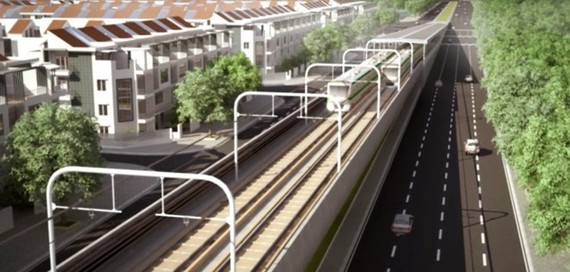 An artist's impression of the third metro line in Hanoi (Source: Hanoi Urban Railway Management Board)