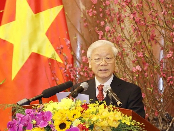 Party General Secretary Nguyen Phu Trong speaks at the meeting. (Source: VNA)
