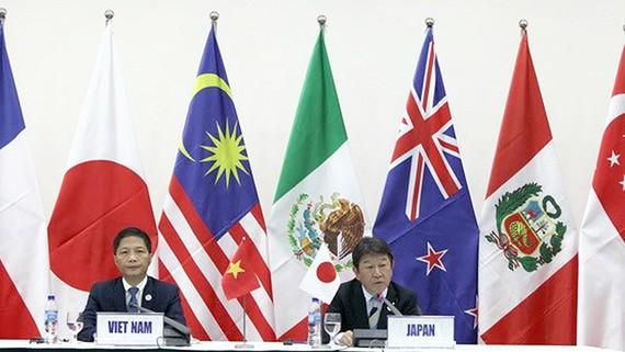 Bộ trưởng Bộ Công thương Việt Nam Trần Tuấn Anh (trái) và Bộ trưởng Bộ Tái thiết kinh tế Nhật Bản Toshimitsu Motegi tại cuộc họp báo về CPTPP ở Đà Nẵng tháng 11-2017