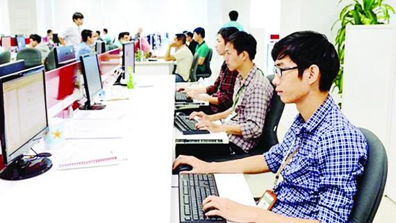 Các lập trình viên làm việc  tại Công viên phần mềm Quang Trung. Ảnh: VIỆT DŨNG