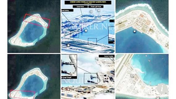 Sơ đồ vị trí  Trung Quốc đã đưa tên lửa chống hạm, tên lửa đất đối không tầm xa lên 3 đảo nhân tạo: Đá Chữ Thập, Đá Xu Bi và Đá Vành Khăn. Ảnh: REUTERS