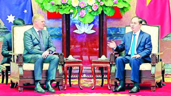 Chủ tịch nước Trần Đại Quang tiếp Chủ tịch  Hạ viện Australia Tony Smith  đang thăm  chính thức  Việt Nam