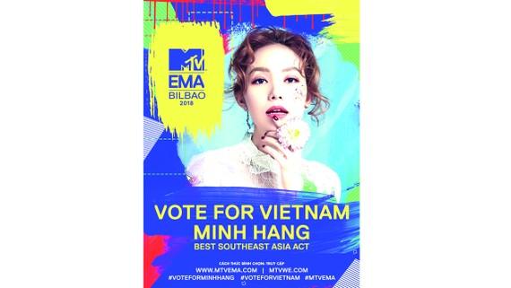 Minh Hằng đại diện Việt Nam tranh cử tại giải thưởng âm nhạc hàng đầu thế giới MTV EMA 2018