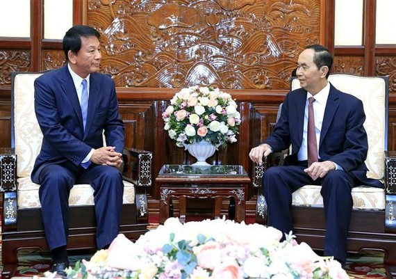 Chủ tịch nước Trần Đại Quang tiếp Đại sứ đặc biệt Việt - Nhật Sugi Ryotaro đang có chuyến thăm và làm việc tại Việt Nam. Ảnh: TTXVN