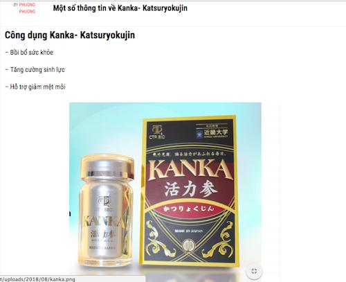 Sản phẩm Kanka - Katsuryokujin  của Công ty TNHH Khang Lạc Mỹ có dấu hiệu vi phạm quy định về quảng cáo