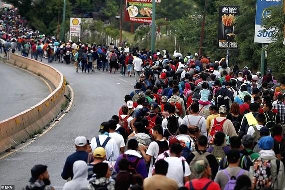 Hàng ngàn người Honduras tìm cách sang Mỹ bất chấp cảnh báo của Tổng thống Mỹ Donald Trump. Ảnh: EPA