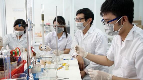 Sinh viên Trường Đại học Sài Gòn trong giờ học thực hành. ẢNH: HOÀNG HÙNG