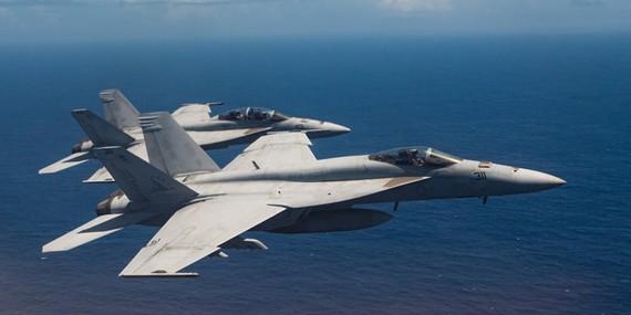 Tiêm kích F/A-18 Super Hornet của hải quân Mỹ bay từ căn cứ Iwakuni, Nhật Bản. Ảnh: US AIR NATIONAL GUARD