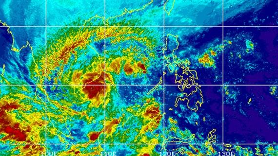 Ảnh chụp mây vệ tinh về cơn bão số 16 sáng 25-12-2017 của Trung tâm ứng dụng Vật lý địa cầu