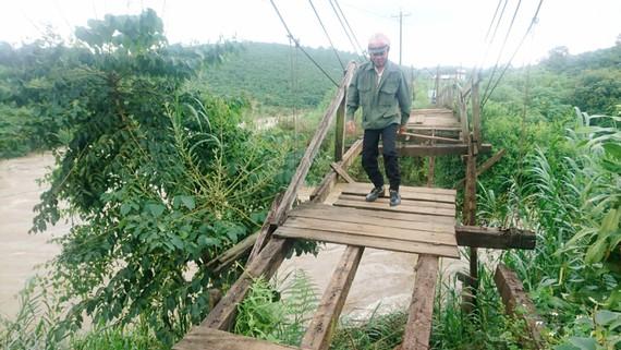 Người dân bất chấp nguy hiểm đi qua cầu gỗ xuống cấp nặng tại xã Lộc Ngãi, huyện Bảo Lâm, tỉnh Lâm Đồng. Ảnh: ĐOÀN KIÊN