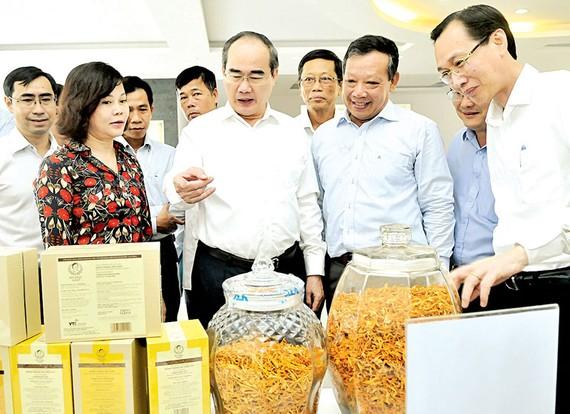Bí thư Thành ủy TPHCM Nguyễn Thiện Nhân xem sản phẩm nông nghiệp công nghệ cao     Ảnh: CAO THĂNG