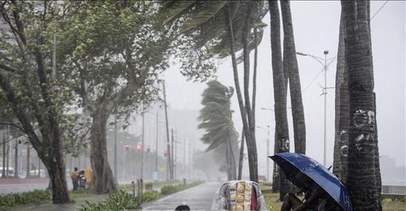 Bão Yutu gây mưa to gió lớn tại Vịnh Manila ngày 30-10. Nguồn: TTXVN