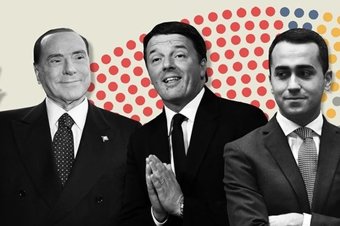 Đại diện của 3 chính đảng trong cuộc bầu cử Quốc hội Italy 2018. Ảnh: Financial Times