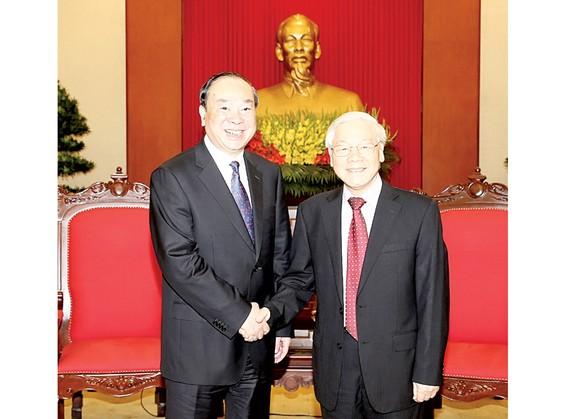 Tổng Bí thư Nguyễn Phú Trọng đón tiếp đồng chí Hoàng Khôn Minh, Ủy viên Bộ Chính trị, Bí thư Ban Bí thư, Trưởng ban Tuyên truyền Trung ương Trung Quốc