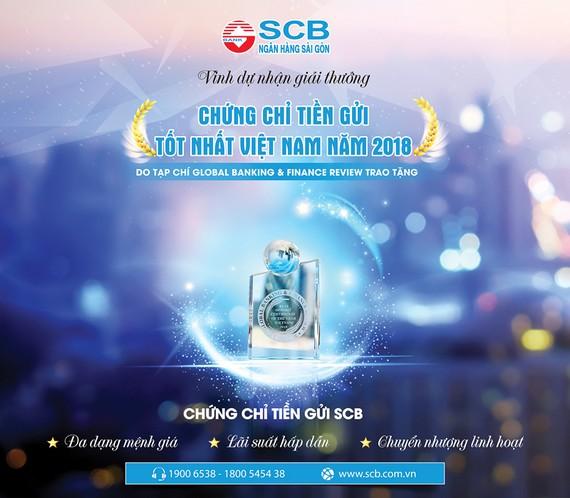 SCB đón nhận Giải thưởng Chứng chỉ Tiền gửi tốt nhất Việt Nam 2018