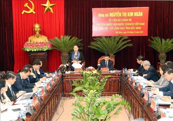 Chủ tịch Quốc hội Nguyễn Thị Kim Ngân phát biểu tại buổi làm việc. Ảnh: TTXVN