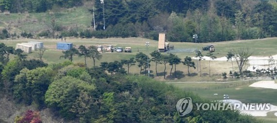 The U.S. THAAD system is deployed on a former golf course in Seongju, North Gyeongsang Province, on April 27, 2017, in a photo provided by the Daegu Ilbo newspaper. (Yonhap)