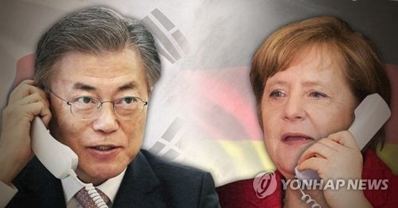 Moon, Merkel agree to enhance economic, diplomatic cooperation
