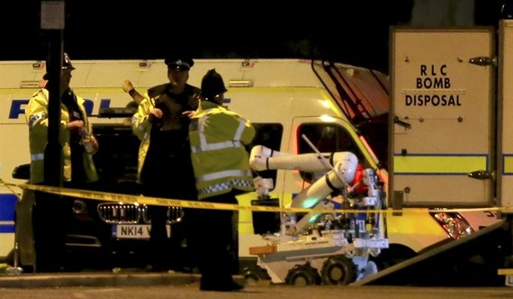 A Royal Logistic Corps (RLC) bomb disposal robot is unloaded outside the Manchester Arena following reports of an explosion, in Manchester, Britain, on Tuesday. - EPA/VNA