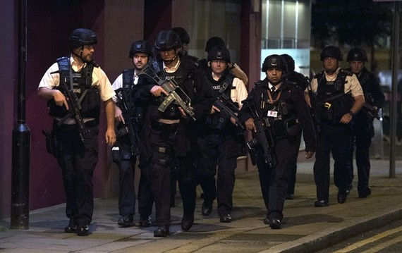 Police units at London Bridge after reports of a incident involving a van hitting pedestrian on London Bridge, Central London, Britain, on Saturday local time.