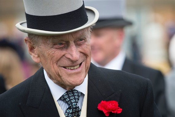 This file photo taken on May 16, 2017 shows Britain's Prince Philip, Duke of Edinburgh greets guests at a garden party at Buckingham Palace in London. Britain's Prince Philip, the 96-year-old husband of Queen Elizabeth II, has been a constant and mischiev