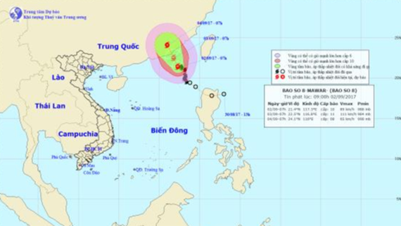 8th typhoon heads for north of East Sea