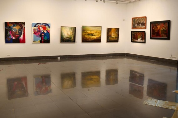 Artworks are displayed at the exhibition -Photo: T.Linh