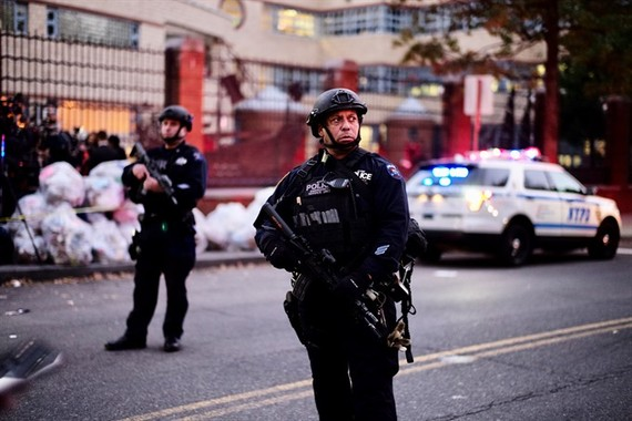 Police officers stand guard near the site of an attack in lower Manhattan in New York, the United States on October 31, 2017. Eight people were killed and a dozen more injured after a truck plowed into pedestrians near the World Trade Center in New York C