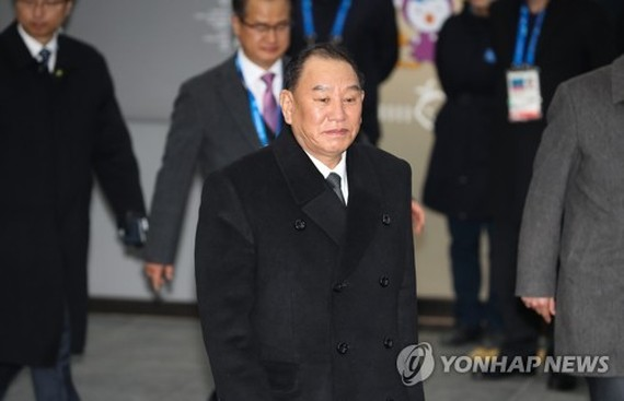 This photo, taken Feb. 25, 2018, shows Kim Yong-chol (C), a top North Korean party official in charge of inter-Korean affairs, visiting South Korea. (Yonhap)