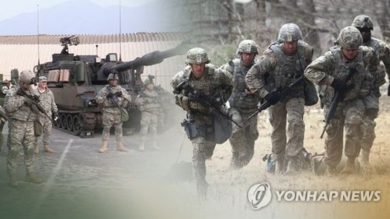 This image, provided by Yonhap News TV, shows U.S. troops in an exercise. (Yonhap)