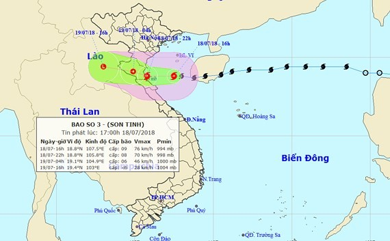 Storm Son Tinh to weaken into tropical low-pressure on July 19