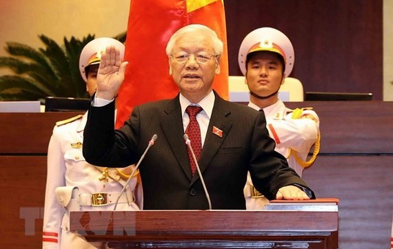 Party General Secretary, President Nguyen Phu Trong at the swear-in ceremony (Photo: VNA)