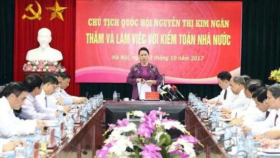 Chủ tịch Quốc hội Nguyễn Thị Kim Ngân phát biểu tại buổi làm việc (nguồn: quochoi.vn)