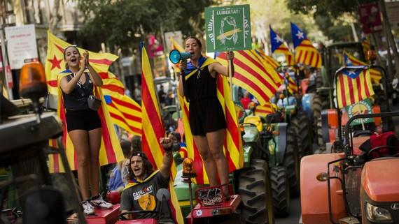 Nông dân treo lá cờ độc lập của xứ Catalonia trên đầu máy kéo trong một cuộc biểu tình ở Barcelona. Ảnh: AP