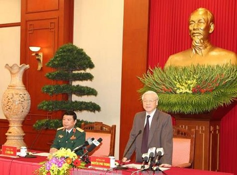 Tổng Bí thư Nguyễn Phú Trọng phát biểu tại buổi gặp mặt. Ảnh: TTXVN