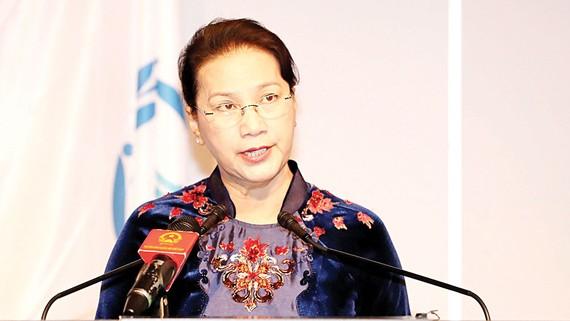 Chủ tịch Quốc hội Nguyễn Thị Kim Ngân phát biểu tại Đại hội đồng IPU-138