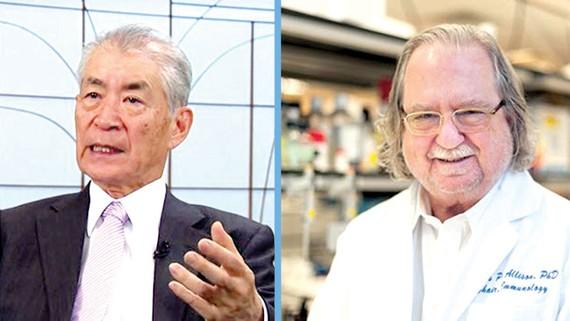 Hai nhà khoa học Tasuku Honjo (trái) và James P. Allison đoạt giải Nobel Y học năm 2018