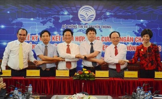 5 doanh nghiệp viễn thông di động gồm Viettel, Vinaphone, MobiFone, Vietnamobile và Gtel vừa ký cam kết cùng ngăn chặn tin nhắn rác, áp dụng từ ngày 1/7.