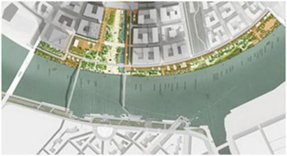 Sơ đồ dự kiến vị trí xây dựng hai cầu đi bộ nối từ quận 2 sang công viên Bạch Đằng, Q.1