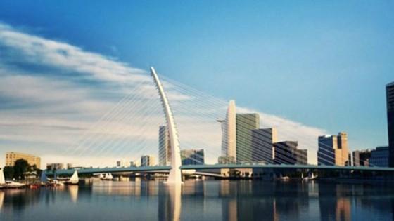 Cầu Thủ Thiêm 2 đang được xây dựng, dự kiến hoàn thành vào tháng 4-2018