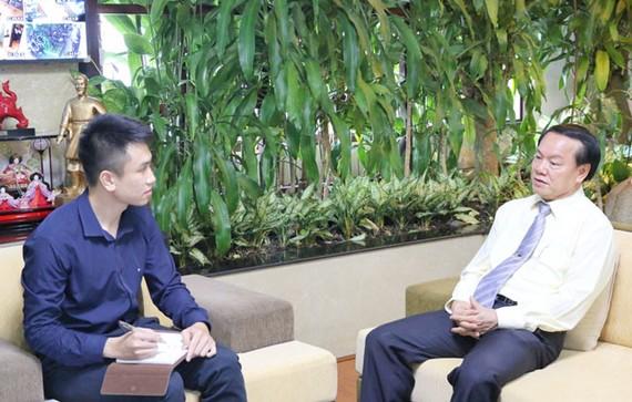 Ông Lê Thanh Thuấn - Chủ tịch HĐQT Tập đoàn Sao Mai trả lời phỏng vấn.